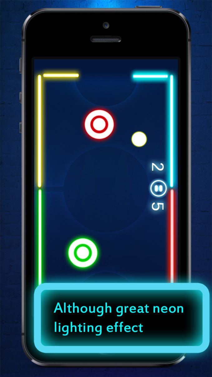 Glow Air Hockey : 2Players Free game mobile HD