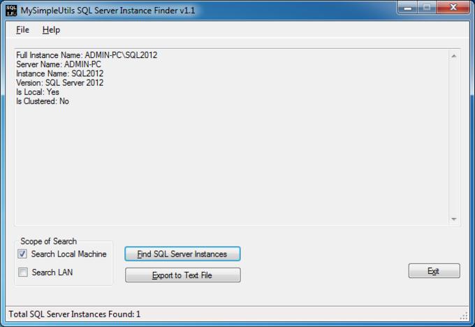 MySimpleUtils SQL Server Instance Finder