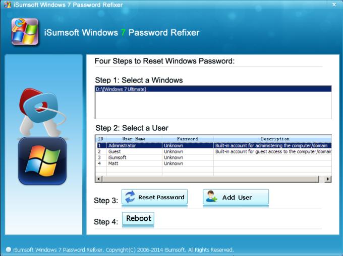 iSumsoft Windows 7 Password Refixer