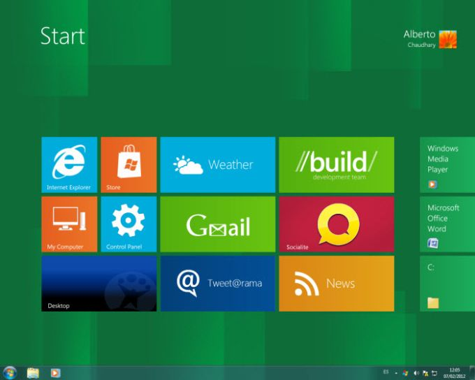 Windows 8 Start Panel