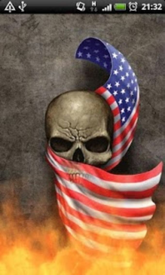 USA Flag Fire Skull LWP