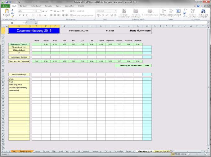 Activity-Report Arbeitszeiterfassung