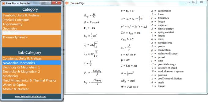 Free Physics Formulas