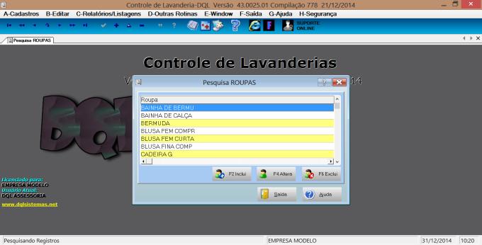 Controle de Lavanderias-DQL