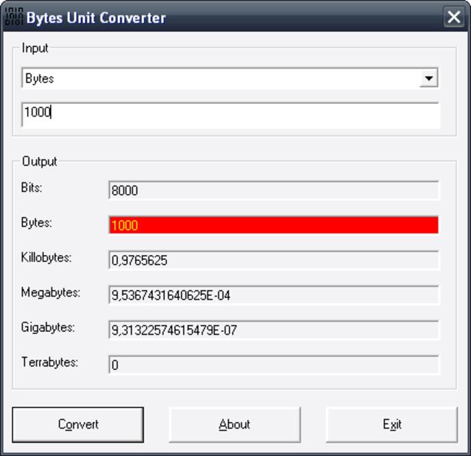 Bytes Unit Converter