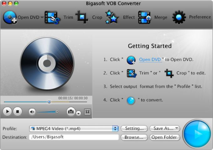Bigasoft VOB Converter for Mac