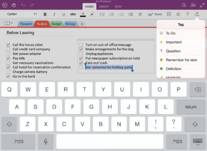 Microsoft OneNote para iPad