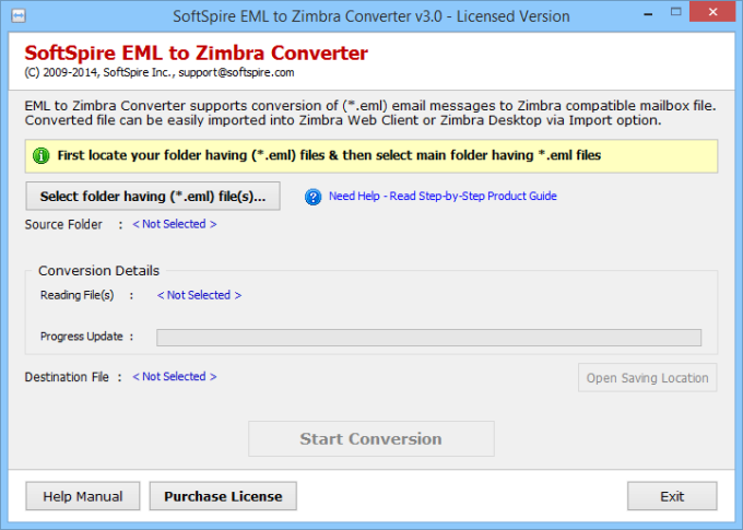 SoftSpire EML to Zimbra Converter