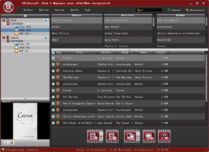 4Videosoft iPad 2 Manager pour ePub