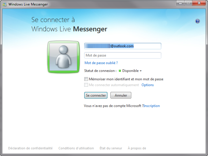 Se connecter à Windows Live Messenger