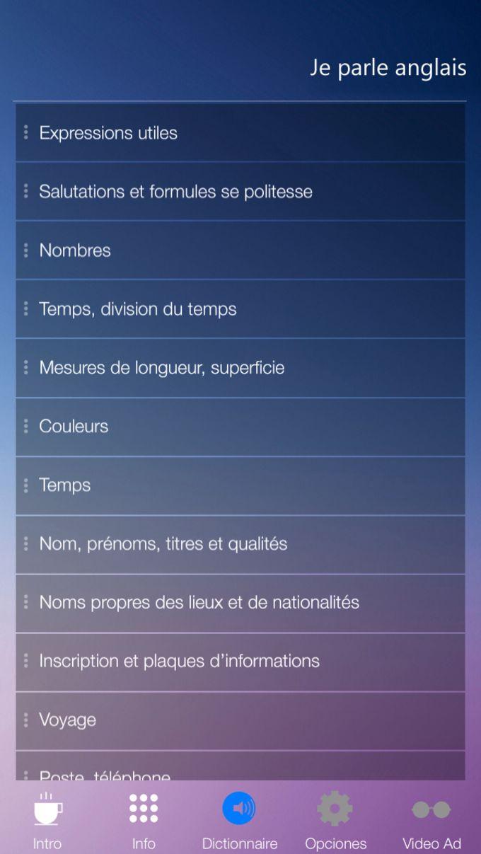 Je Parle ANGLAIS - Traduction cours pour débutants - audio dictionnaire français - anglais
