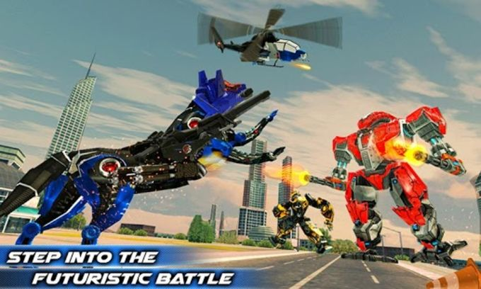 Air Force Transform Robot Cop Wolf Helicopter Game
