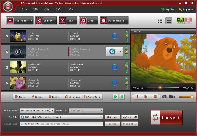 4Videosoft QuickTime Video Converter