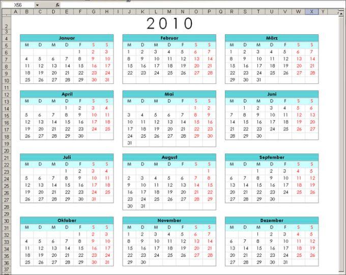 Jahreskalender 2011 als Übersicht