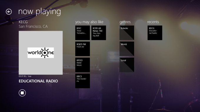 TuneIn Radio pour Windows 10