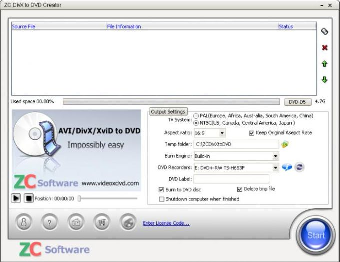 ZC DivX to DVD Creator