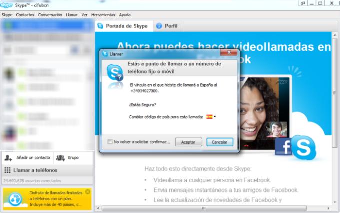 Clic para Llamar con Skype