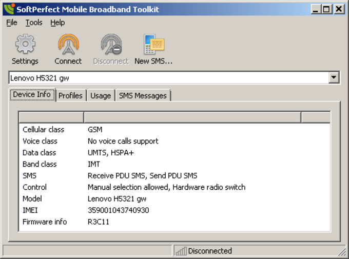 SoftPerfect Mobile Broadband Toolkit