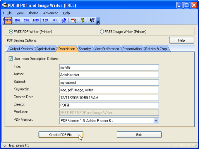 PDFill FREE PDF and Image Writer