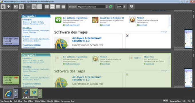 Microsoft Expression Web SuperPreview for Windows Internet Explorer