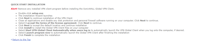SonicWALL Global VPN Client