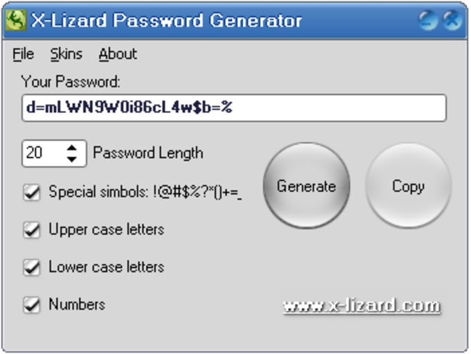 X-Lizard Password Generator