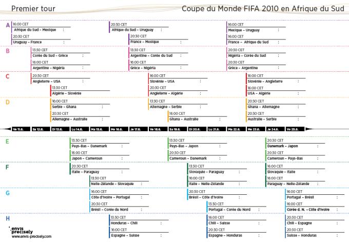 Calendrier de la Coupe du Monde 2010