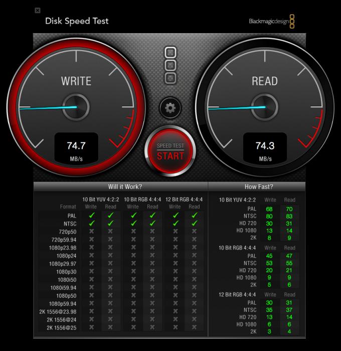 Blackmagic Disk Speed Test