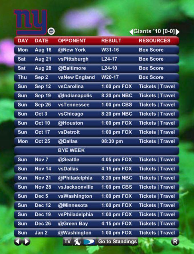 NFL Team Schedule