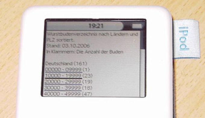 Wurstbudenverzeichnis für iPod