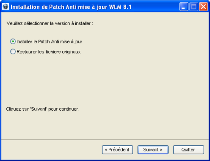 Patch anti mise à jour pour Windows Live Messenger 8.1