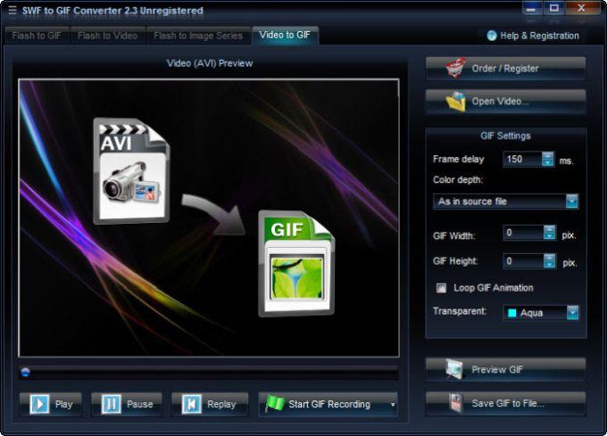 SWF-AVI-GIF Converter
