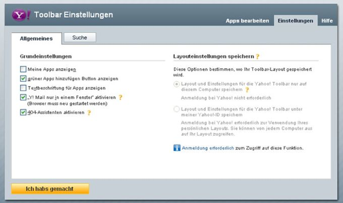 Yahoo! Toolbar für Firefox