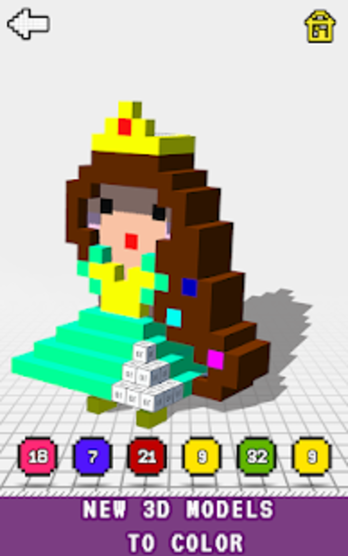 Princess 3D Color By Number Voxel Coloring Book