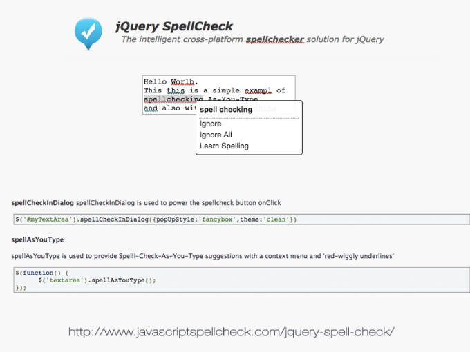 jQuery Spell Check