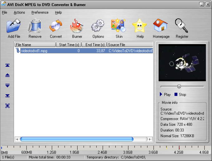 AVI DivX MPEG to DVD Converter & Burner