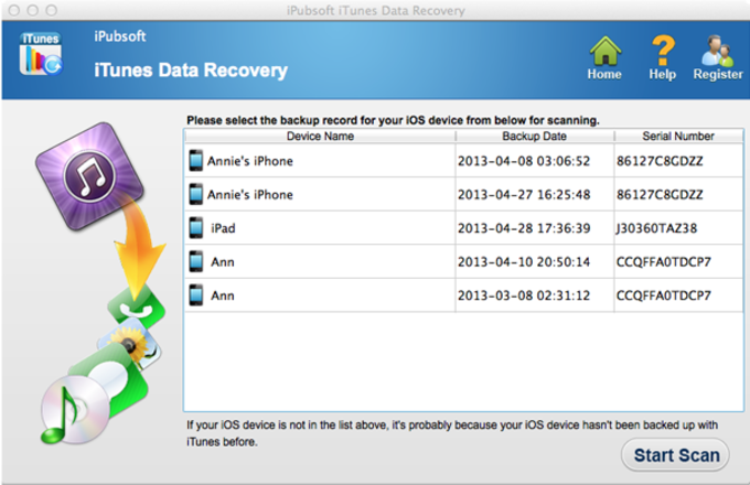 iPubsoft iTunes Data Recovery for Mac
