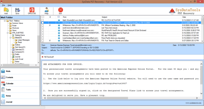 SysData Outlook PST Recovery