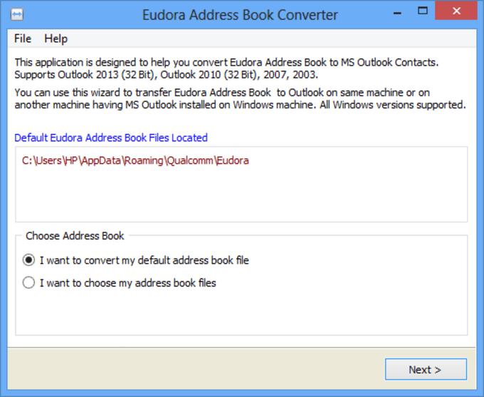 Eudora Address Book Converter