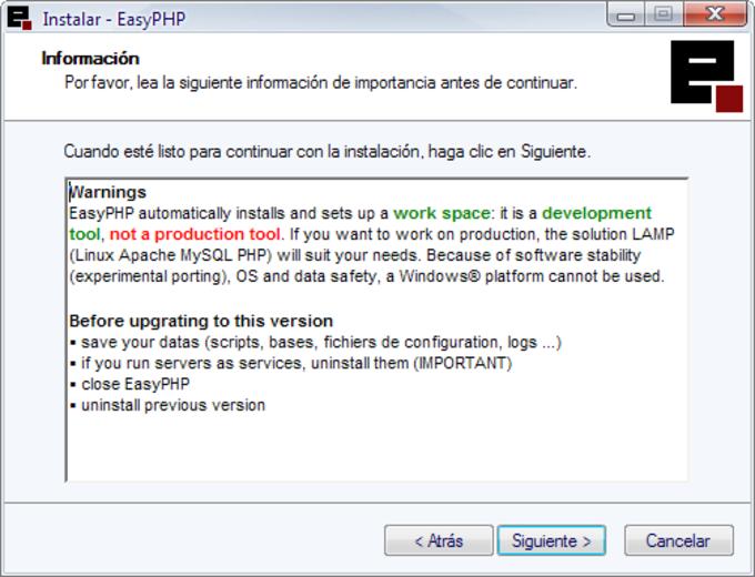 EASYPHP POUR XP TÉLÉCHARGER WINDOWS