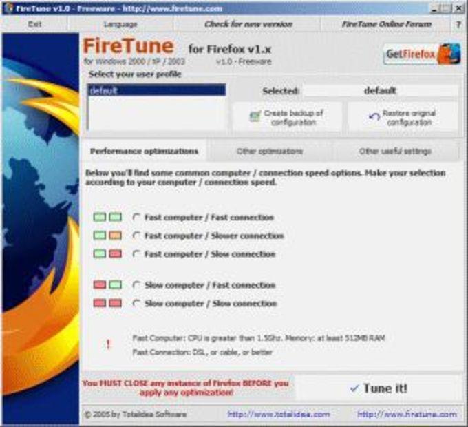 FireTune for Firefox