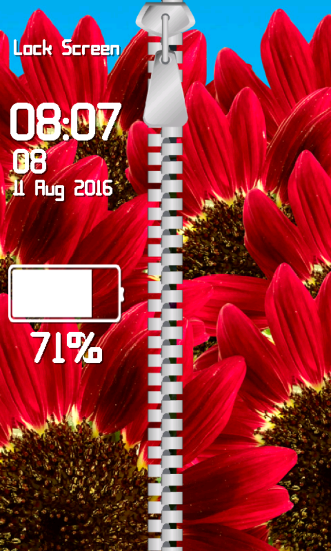 Zipper Lock Screen Flowers