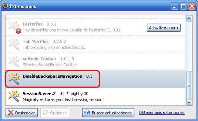 DisableBackspaceNavigation Extension