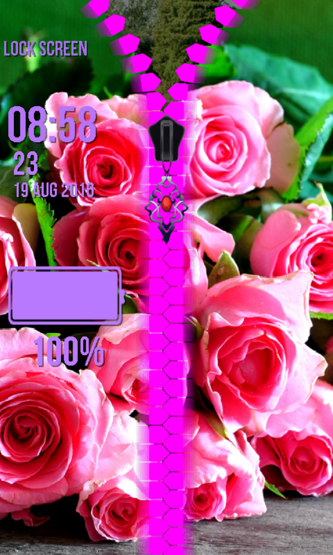 Rose Flower Zipper Lock Screen