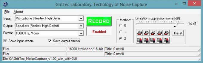 Noise Capture in speech signals