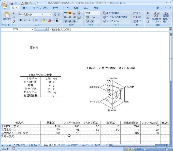 食品栄養成分計算「よっしゃ!栄養 for Excel」
