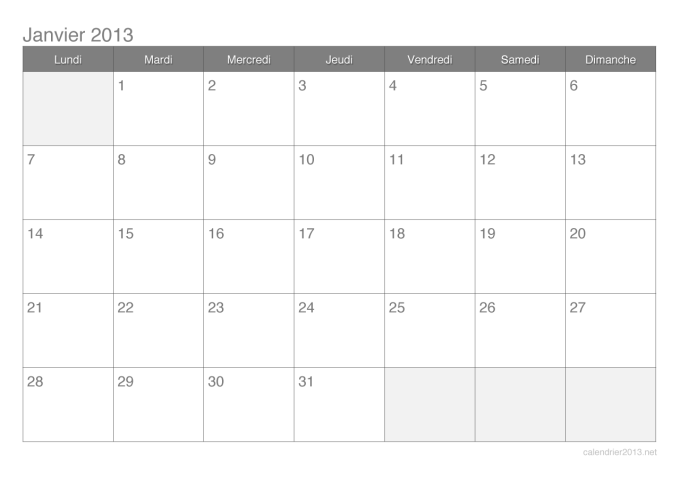 Calendrier mensuel 2013
