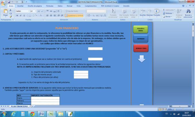Sistema de gestión para hostelería