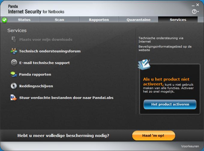 Panda Internet Security voor Netbooks