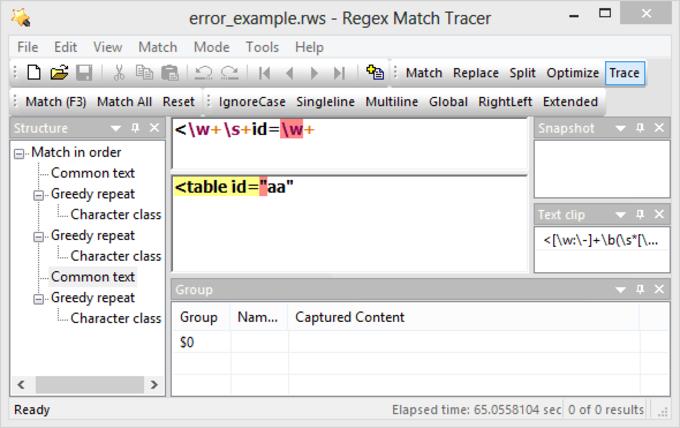 Regex Match Tracer